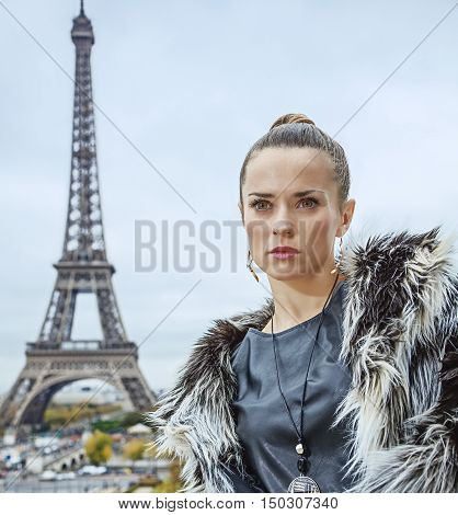 Fashion-monger In Front Of Eiffel Tower In Paris, France