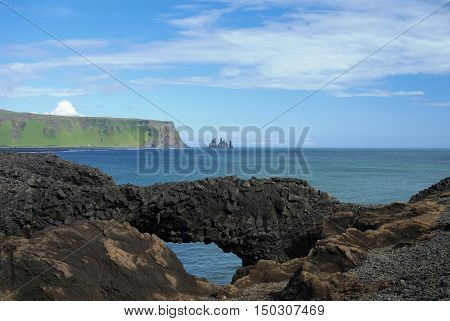 Dyrholaey cape natural stone arch South Iceland
