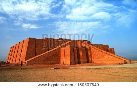 Restored ziggurat in ancient Ur sumerian temple in Iraq