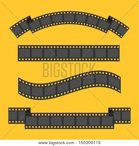 Film strip frame four set. Different shape ribbon. Design element. Yellow background. Isolated. Flat. Vector illustration