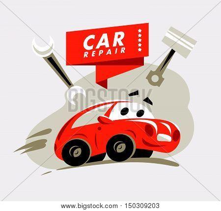 Vector flat car repair service emblem design. Auto repair logo template. Cartoon style. Garage logo. Red car illustration.