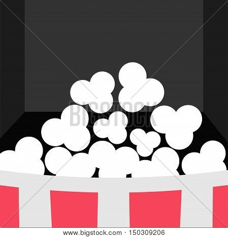 Super Big Popcorn Icon. Red White Strip Box. Movie theater Cinema screen in flat design style. Black background. Vector illustration