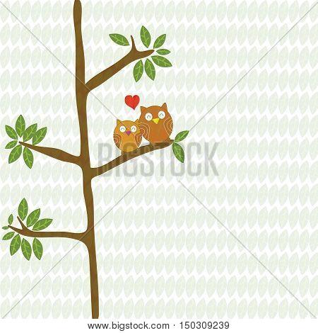 couple owl birds love with red heart on tree cartoon vector