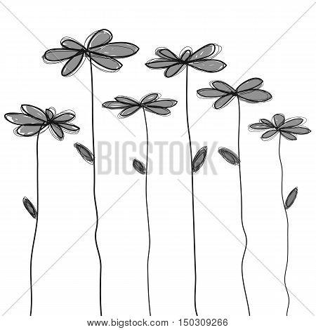 black grey doodle flower vector hand drawn