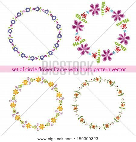 flower circle frame set with brush pattern vector