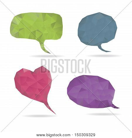bubble speech and heart set low poly vector