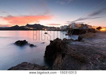 View of the Naxos town early in the morning.