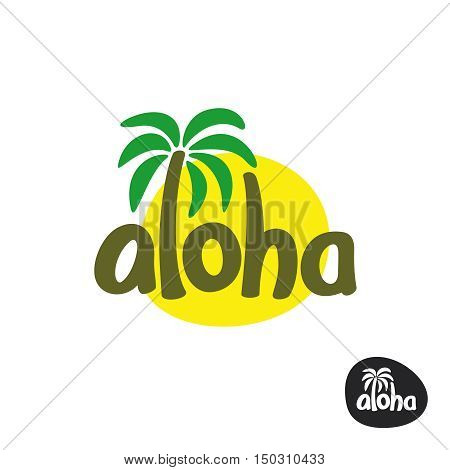 Aloha lettering word logo with palm tree and sun silhouette behind