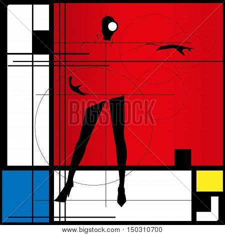Fashion girl in sketch-style. Fashion silhouette. Vector illustration.