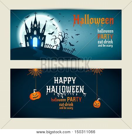 Halloween Banners Set On Blue And Darkblue Background. Invitation To Night Party.