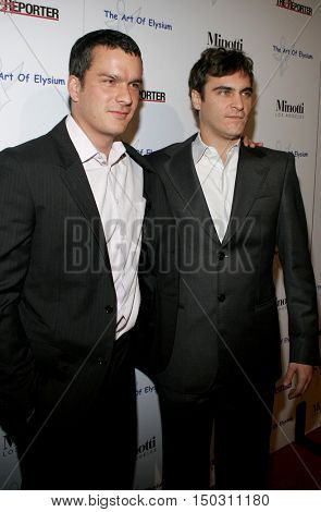 Balthazar Getty and Joaquin Phoenix at the Art of Elysium Presents Russel Young 'fame, shame and the realm of possibility' held at the Minotti Los Angeles in West Hollywood, USA on November 30, 2005.
