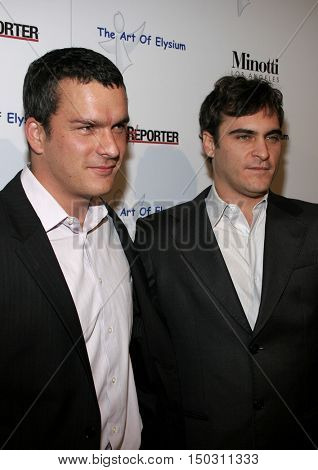 Balthazar Getty and Joaquin Phoenix at the Art of Elysium Presents Russell Young 'fame, shame and the realm of possibility' held at the Minotti in West Hollywood, USA on November 30, 2005.