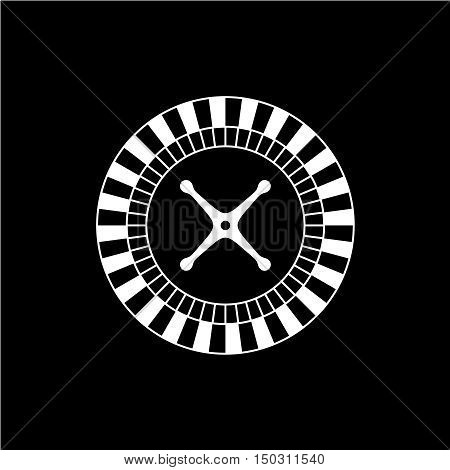 Roulette casino wheel icon. One color roulette game wheel top view silhouette.
