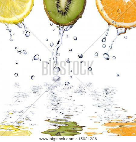 fresh water drops fruits isolated on white