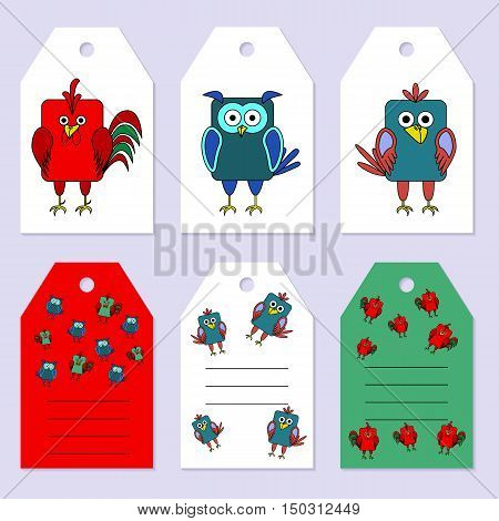 Set gift tags. Stock vector set of children's birthday party. Flat bird design. Rounded rectangle rooster owl crow. Place for an inscription. Congratulation invitation design cards.