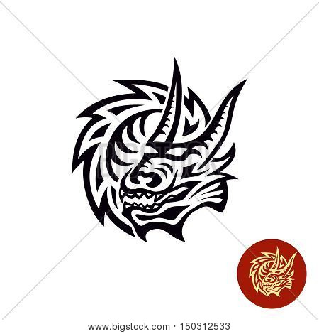 Dragon tattoo style black logo. Head and rounded neck of the dragon one color illustration.