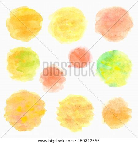 Watercolor circles isolated on white background. Set of colorful hand painted drops. Autumn tints. Vector illustration