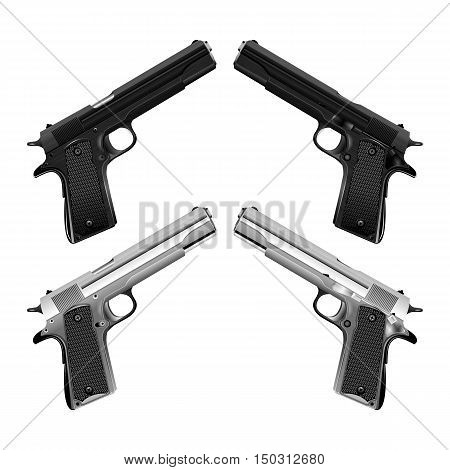 Realistic classical an automatic pistol. Shown in two variants chrome and black on both sides. Isolated objects can be used with any image or text.