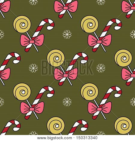 Vector seamless pattern with Christmas candy canes for Christmas holidays and New Year 2017. Vector illustration for Merry Christmas and Happy New Year print design.