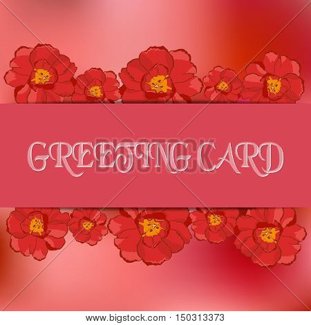 Stock vector card template for greeting invitation cards. Abstract blurred pink background and flowers. Tulip and narcissus. Template for poster banner greeting card invitation. You can place your text in the center. Illustration