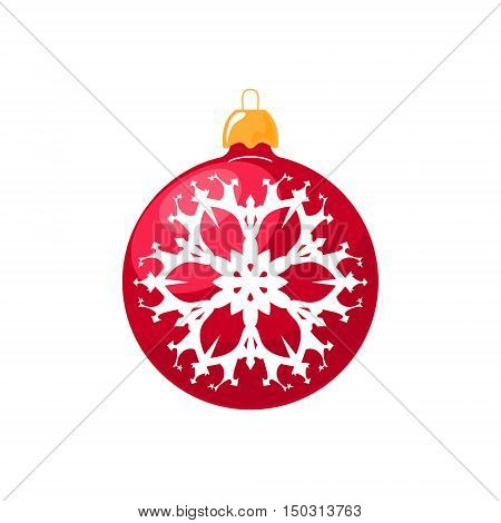 Christmas Red Ball, Ball with Snowflake Isolated on White Background, Christmas Tree Decoration, Merry Christmas and Happy New Year, Vector Illustration