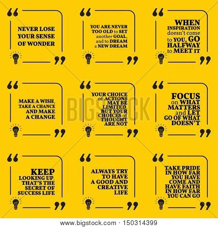 Set Of Motivational Quotes About Dreams, Goals, Choices, Action, Achievement, Focus, Pride, Success