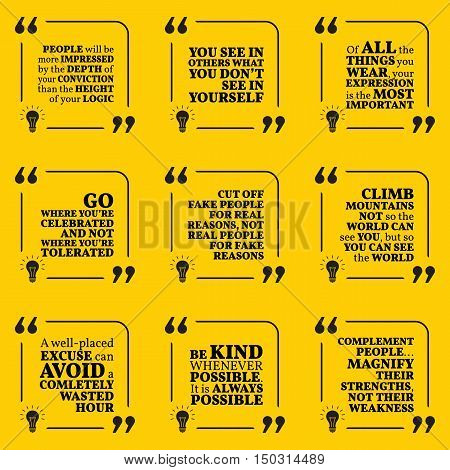 Set Of Motivational Quotes About Conviction, Expression, Tolerance, Reasons, Excuse, Kindness And Co