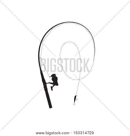 Fishing rod black silhouette. Rod with reel line and minnow with hooks.