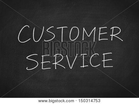 customer service. text words on blackboard background
