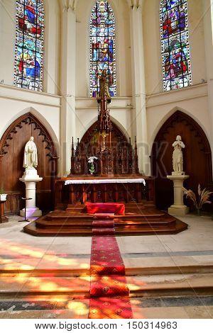 Fleury sur Andelle France - september 7 2016 : the Notre Dame de la Vallee church