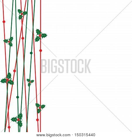 red and green line with christmas leaves for decorate greeting card vector