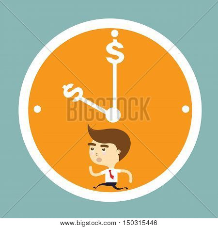 businessman running out of time clock vector