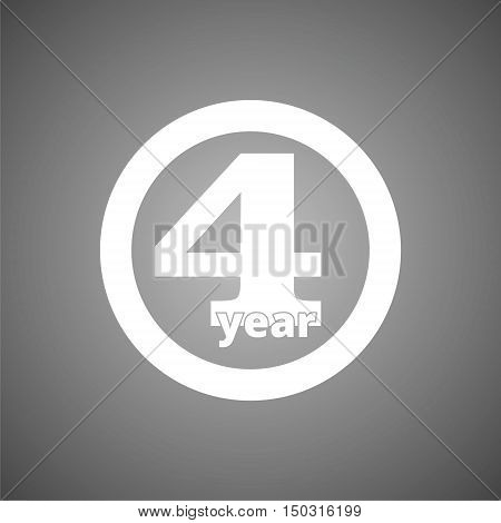 Four years sign, Four years icon on gray background