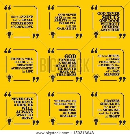 Set Of Motivational Quotes About God, Achievement, Heart, Conscience, Ego, Devil, Life And Prayers.