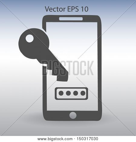 Using a password to prevent unauthorized access vector icon
