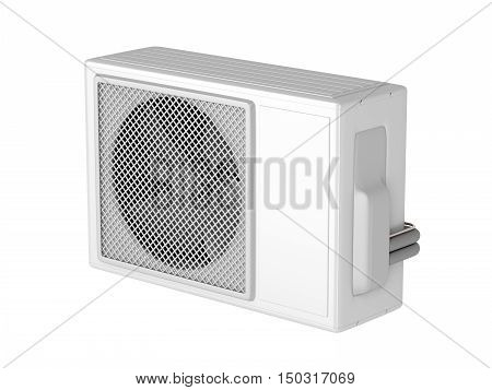 Outdoor unit of split system air conditioner isolated on white, 3D illustration