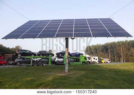 solar panel on truck stop near belgian motorway between Ghent and Brugge