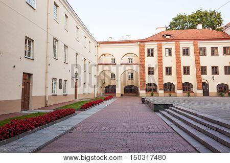 Vilnius Lithuania - September 10 2016: View of Vilnius university from Sarbievijaus yard
