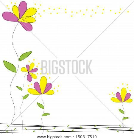 pink and yellow flower doodle garden card vector