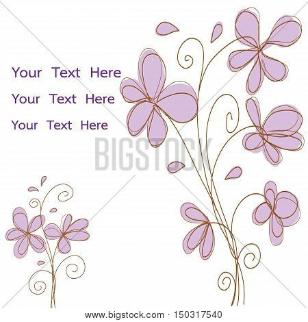 pink flowers doodle vector for card or invitation