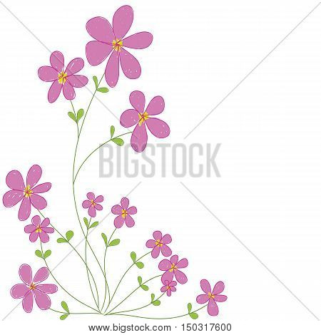 sweet pink doodle flowers with white space background isolated vector