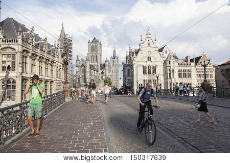 Ghent, 27 august 2016: st niklaas church in belgian town of Gent seen from michaels bridge