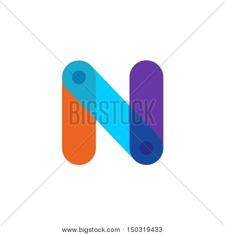 Letter N tech colorful logo with overlay effect. Transparency are flattened.