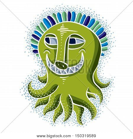 Vector Cool Cartoon Crazy Smiling Green Monster, Weird Creature. Clipart Mythic Character For Use In