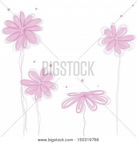 sweet pink flowers doodle background isolated vector