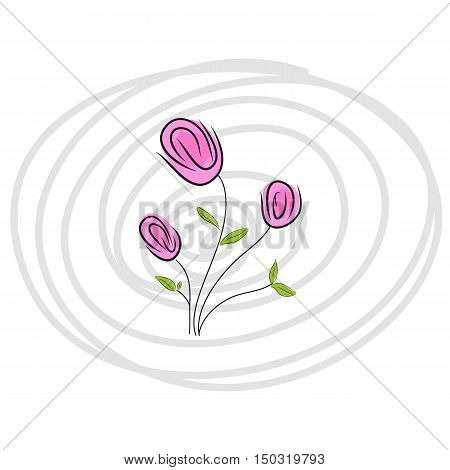 pink flowers doodle with line circle background vector