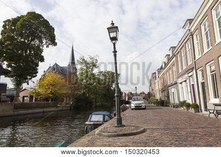 Maarssen, Netherlands, 30 september 2016: houses along river Vecht in the dutch village of Maarssen in the netherlands