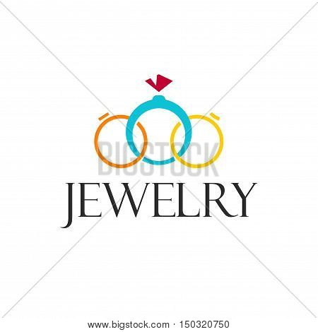 Jewelry rings vector logo template isolated on white background, beauty jewellery brand design, creative logotype