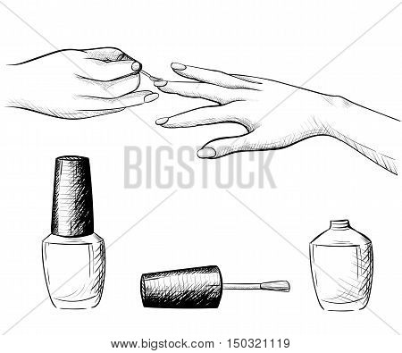 Hand draw manicure. Vector illustration of different positions of hands during manicure