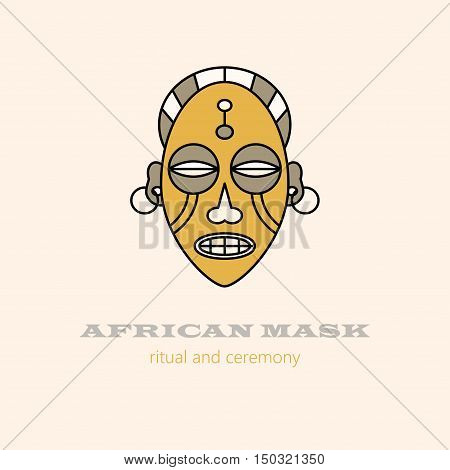 Vector logo African masks and religious ceremonies. African souvenir and symbol of voodoo magic.